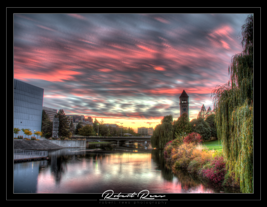 Spokane Clock Tower at Dusk