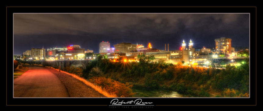 Spokane Night Skyline at Night